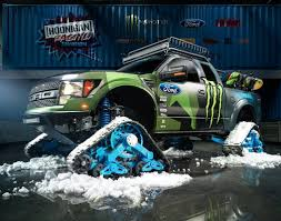 ken block monster energy debut f150 raptortrax snowboard