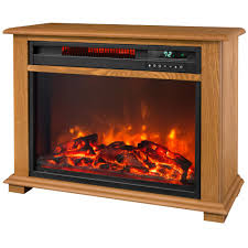 lifesmart 28 5 in portable fireplace heater with decorative