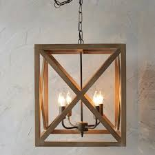 rustic rectangular metal and wood chandelier antique farmhouse