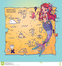 Treasure Map Clipart A Mermaid And Treasure Map Stock Vector Image 72904533