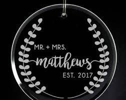 Etched Glass Ornaments Personalized Wedding Christmas Ornament Engraved Glass Ornament