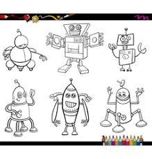 robots cartoon coloring book royalty free vector