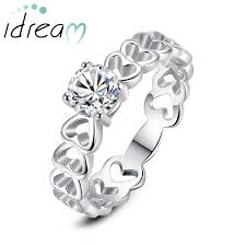 rings love heart images Heart link cz diamond couple promise ring personalized love heart jpg
