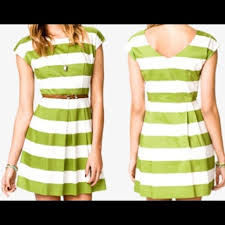 forever 21 forever 21 white u0026 green woven striped dress from