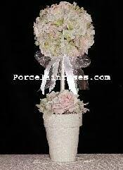 Paper Rose Topiary - porcelain wedding bouquets and centerpieces