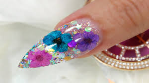 real dried flowers and glitter nail youtube