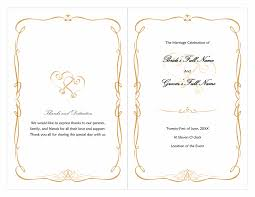 wedding program sles free wedding office