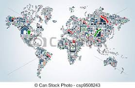 world map image drawing property service icons world map real estate icon set in