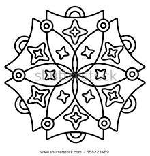 simple flower mandala pattern coloring book stock vector 520800508