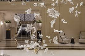 Glass Blown Chandeliers by Contemporary Chandelier Blown Glass Led Dancing Leaves Lasvit