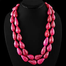 ruby beads necklace images Genuine 2 strand pear carved red ruby beads necklace shubham jpg