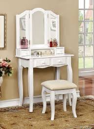 Vanity Table And Bench Set Claudia White Makeup Table With Mirror And Bench