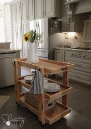 kitchen shabby chic kitchen with portable island made of wood kitchen shabby chic kitchen with portable island made of wood also three tier shelves offer