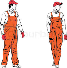 sketch two workers in orange combinations stock vector colourbox