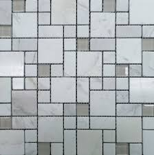 polished marble and frosted sanded glass squares mosaic tile
