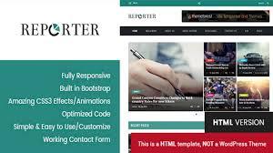 reporter magazine u0026 news html template themeforest website