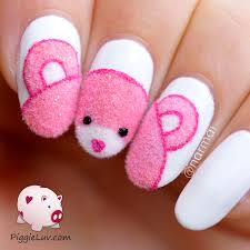 piggieluv fuzzy pink teddy bear nail art