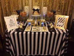 40th birthday black white gold candy table birthday party