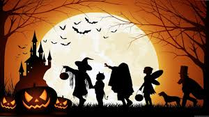 halloween pumpkin castle moon bats kids full hd wallpaper 2560 x