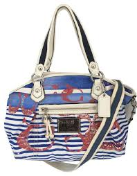 nautical bags coach nautical purse blue stripe sequin shoulder bag tradesy
