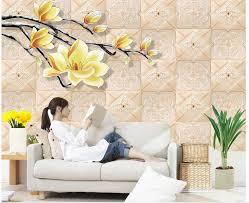 online get cheap hand painted wall mural aliexpress com alibaba 3d flower relief hand painted magnolia background wall photo wall murals wallpaper mural 3d wallpaper