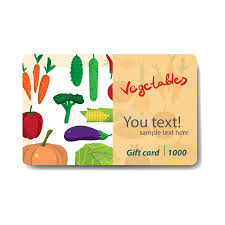gift card discount store fruits and vegetables sale discount gift card stock vector
