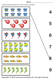 counting and draw line to the correct number 1ºano mat associar