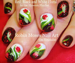 red black and white freehand valentines love heart nail art over