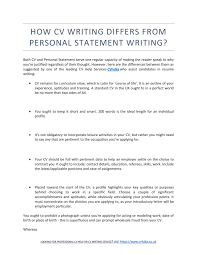 Resume Qualities by How Cv Writing Differs From Personal Statement Writing By