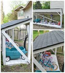 How To Build A Backyard Storage Shed by Diy Backyard Bike Storage With An Easy To Install Roof Refresh