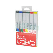 copic sketch marker 6 piece set bold primaries icopic com