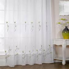 Embroidered Curtain Panels Melissa Floral Embroidered Voile Curtain Panel Ebay