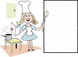 aide de cuisine caricature de femme souriante dans la cuisine à l aide de livre de