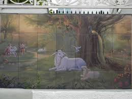 outdoor kiln fired tile murals that will not fade and made to commisioned by an indian temple of a scene in the teachings of lord krishna