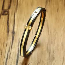 cuff link bracelet images Men 39 s stainless steel two tone bolt link bracelet for men biker jpg