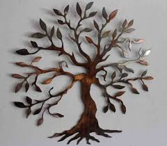 Large Wrought Iron Wall Decor Outdoor Brown Tree Outdoor Wall Art Decor Natural Stones