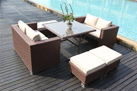 Rattan Garden Furniture Papaver 8 Seater Brown Cube Dining Set Rattan Garden Furniture
