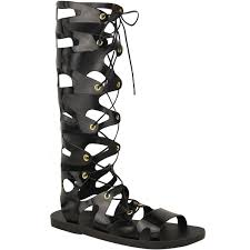 womens ladies knee high lace up jelly sandals gladiator flat