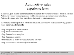 Sample Car Sales Resume by Automotive Sales Experience Letter