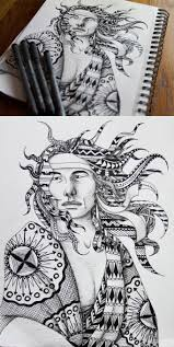 a black and white zentangle drawing of a native american man in my