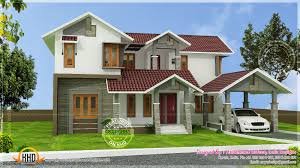 modern sloping roof house villa design kerala home and pitched