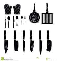 spoons pans knives kitchen gloves kitchen tool silhouette