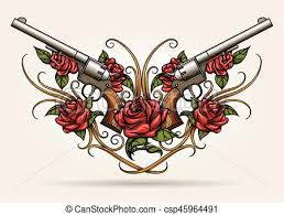 two guns and rose flowers drawn in tattoo style pair of eps