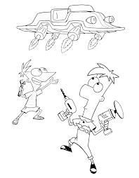 phineas and ferb coloring pages and book uniquecoloringpages