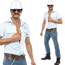 Construction Worker Costume Village People Fancy Dress Costume Official Mens 70s Disco