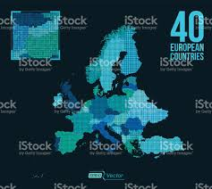European Map by Dot Matrix Vector Europe Map 40 European Countries Stock Vector