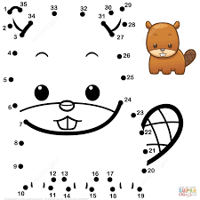 cute baby beaver dot to dot free printable coloring pages