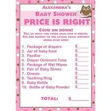 price is right baby shower 24 baby shower price is right cards pink owl ebay