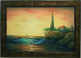 sunset ocean dolphins lighthouse on cliff house shore beach framed