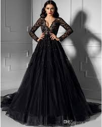 black lace sleeve wedding dresses 2017 v neck sheer